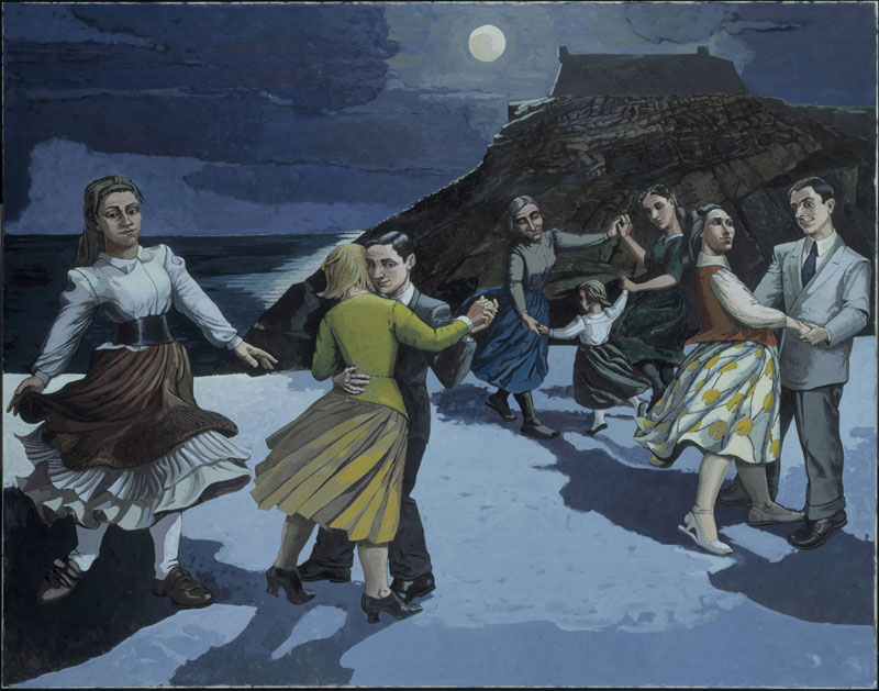 eight figures dancing in the moonlight with a building atop a rocky outcrop in the background
