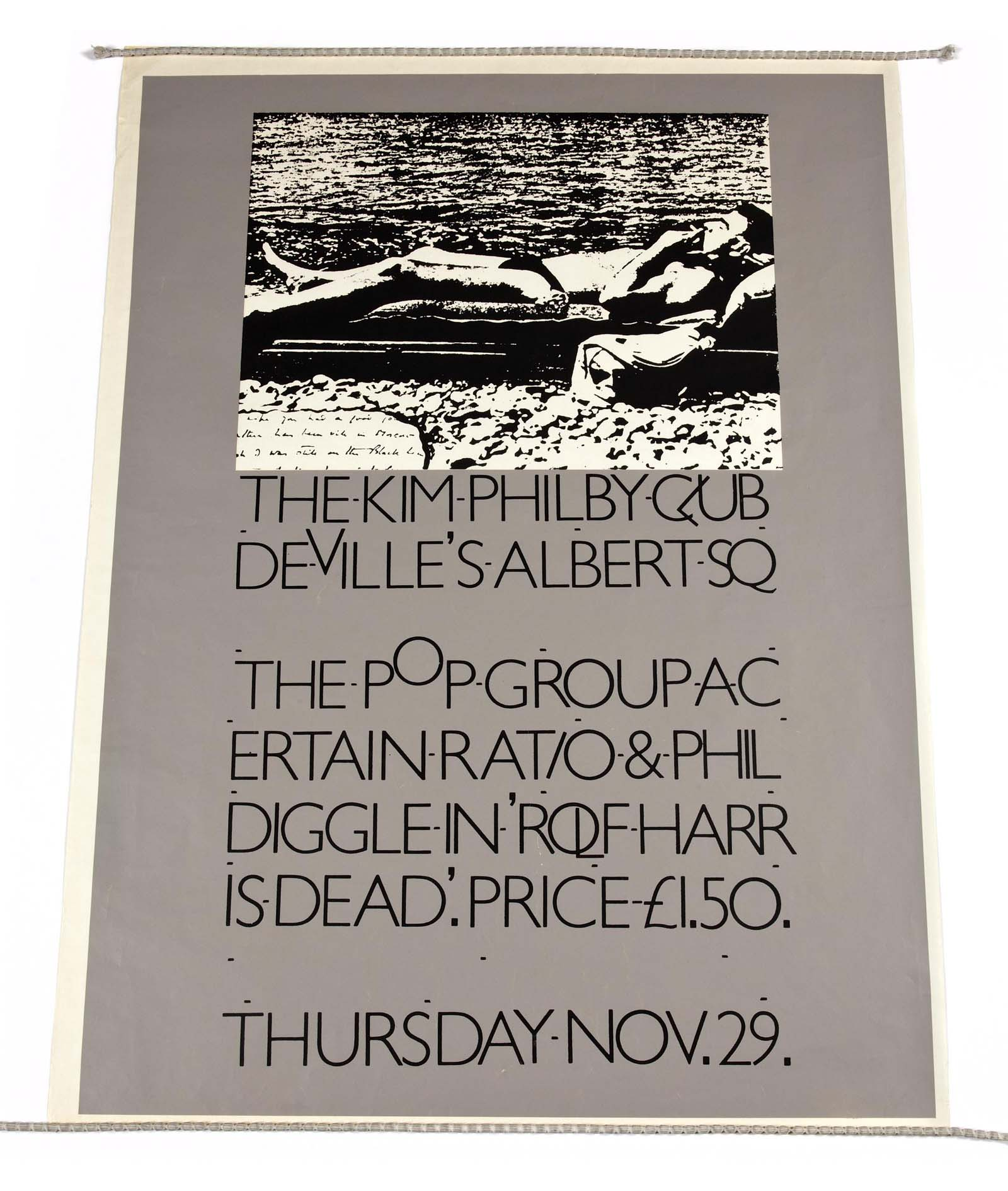 Grey poster with old illustration of a man reclining on a bed at the top and a list of bands and gig details below