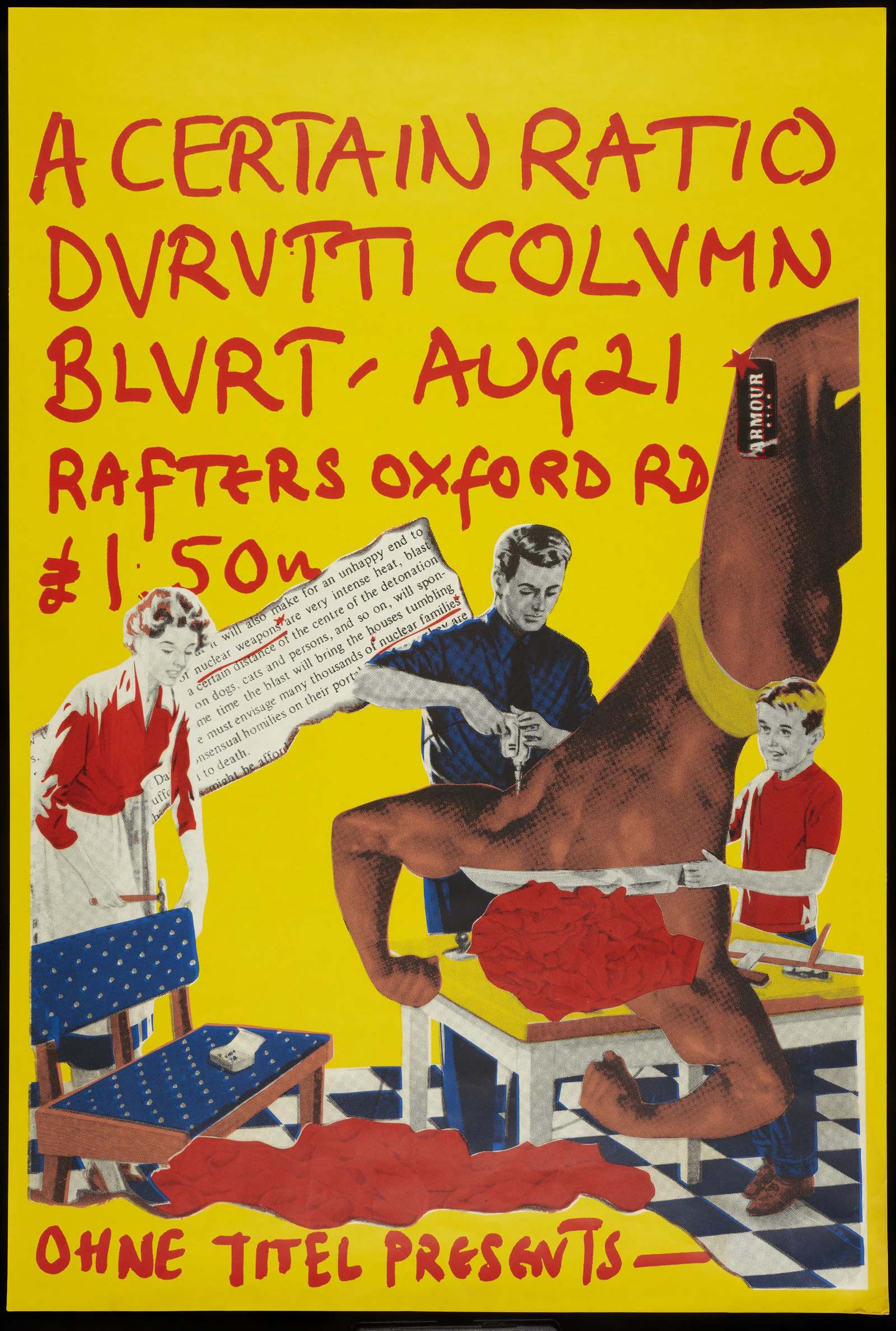 yellow gigi poster for durutti column and blurt with collaged figures in the foreground