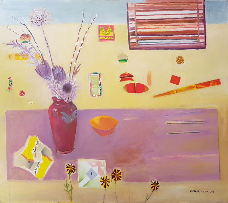 abstract painting of vase and flowers on table with various objects and shapes