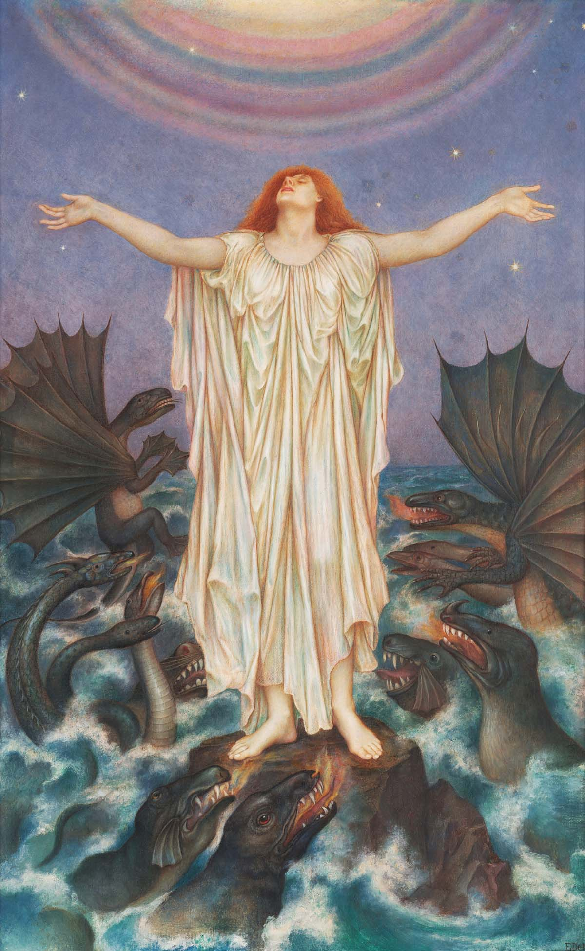 painting of a floating female figure above an ocean of sea monsters