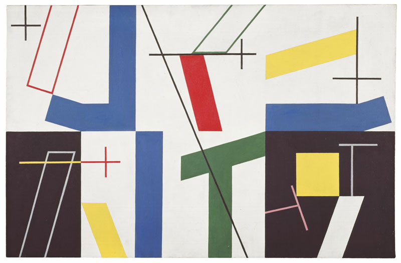 abstract shapes in blue, gree,red, yellow, black and white with small black crosses