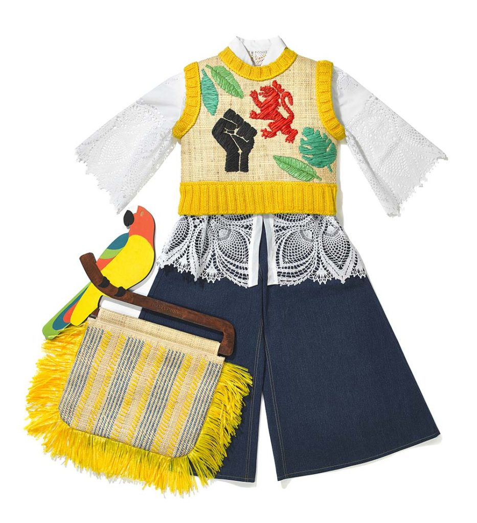 photo of an outfit comprising flared denim cullottes, embroidered yellow takn top and a colourful yellow bag