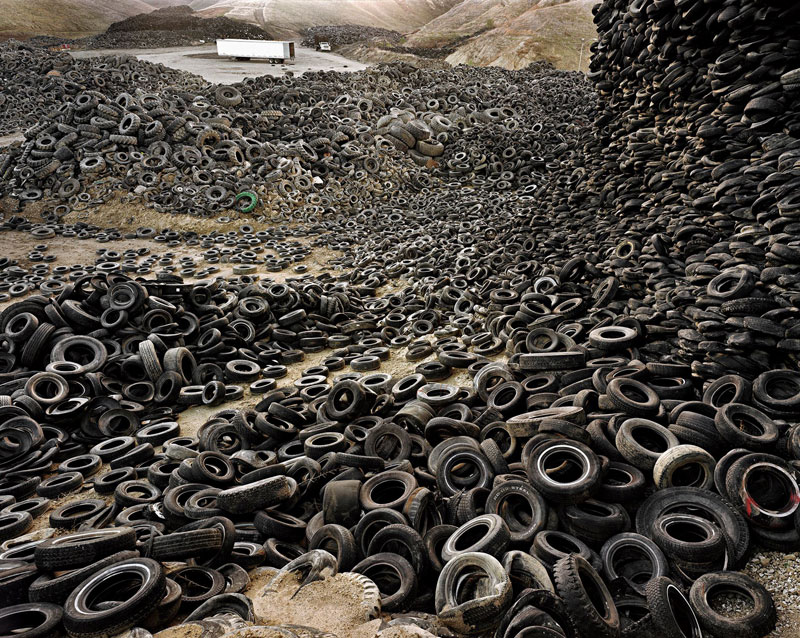 landscape full of old tires