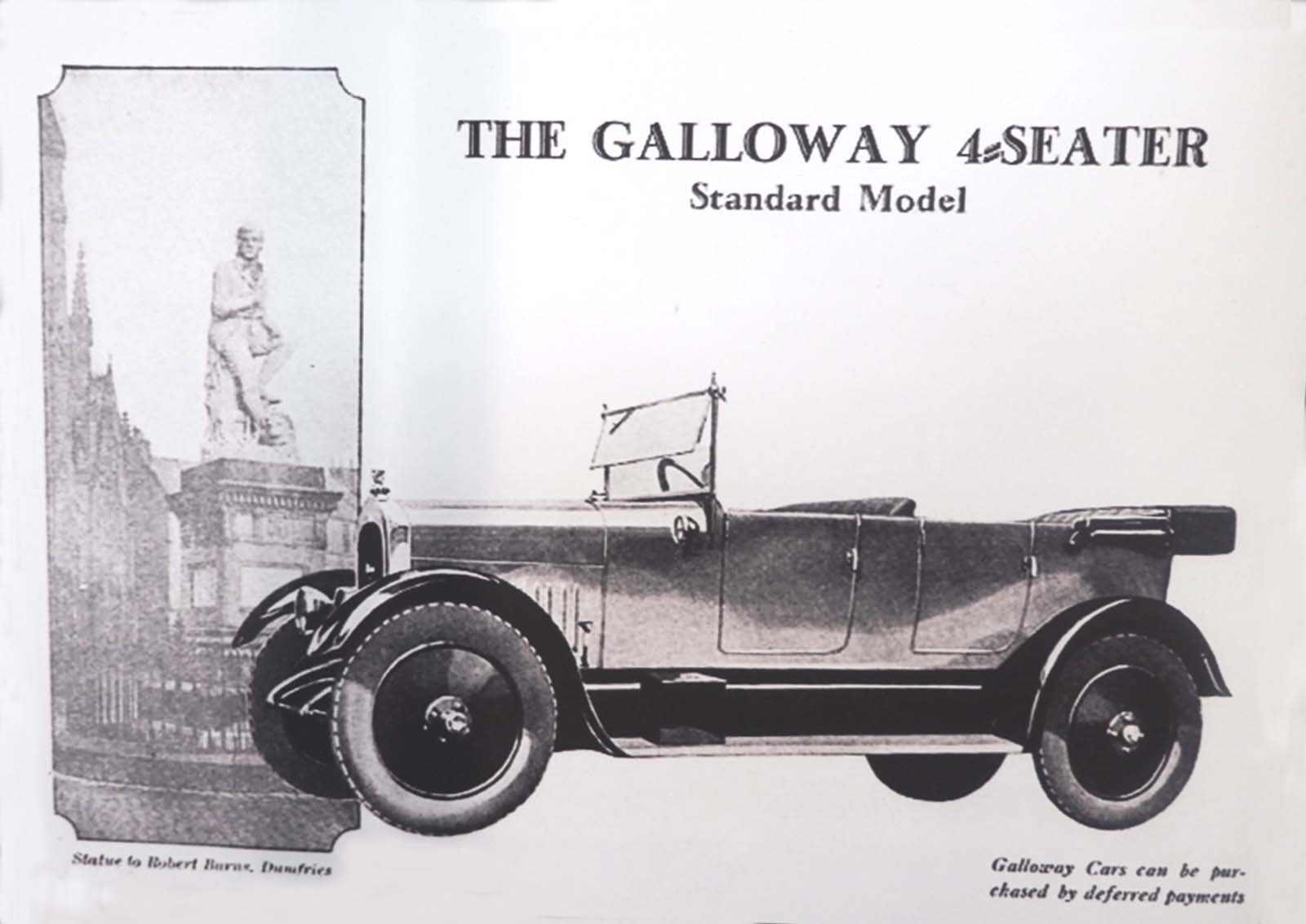 black and white advertisemtn for a Galloway car with a picture of a four seater car next to a photo of the statue of Robert Burns