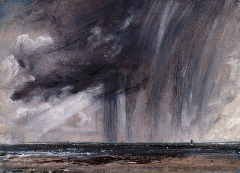 expressive oil painting of rainy grey clouds over the sea