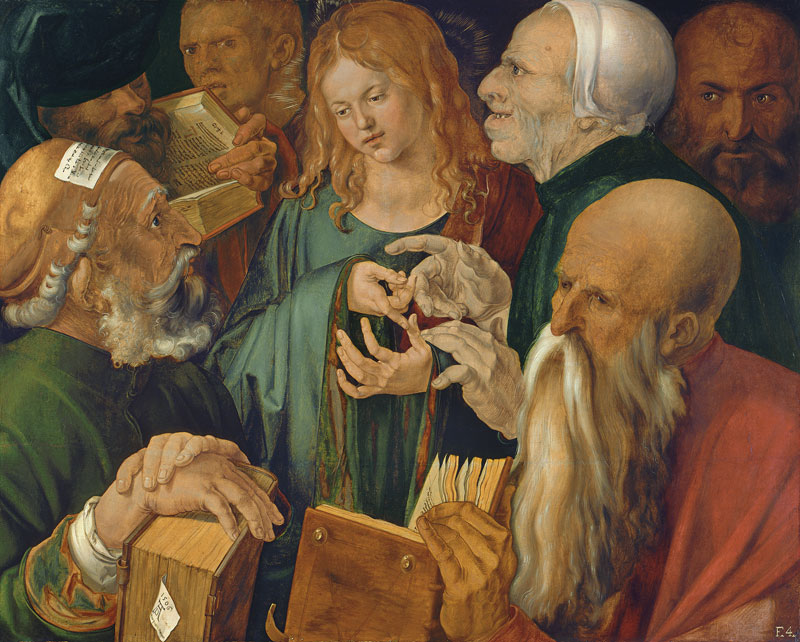 oil painting of young Christ surrounded by old men with large books