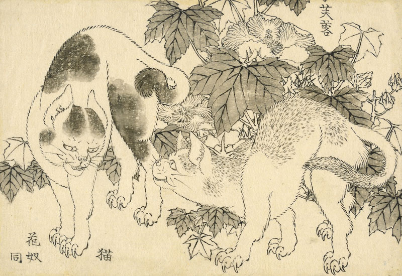 Japanese illustration of two cats with leaves