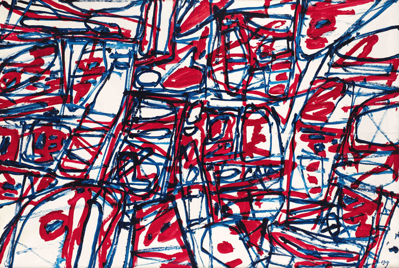 abstract line drawing in red, blue and black