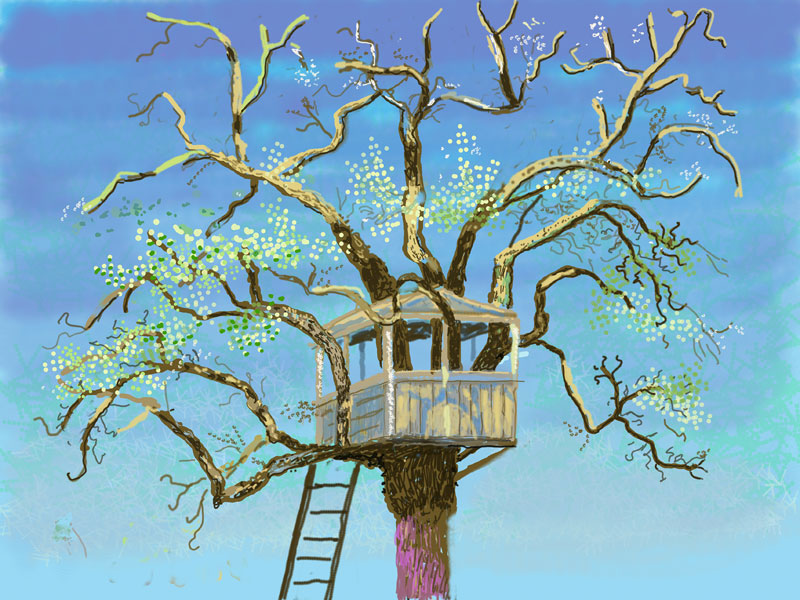 a treehouse in a blossoming tree