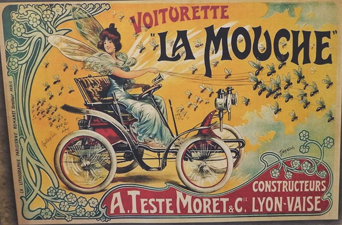 colourful early twentieth century French poster advertising a small car driven by a woman