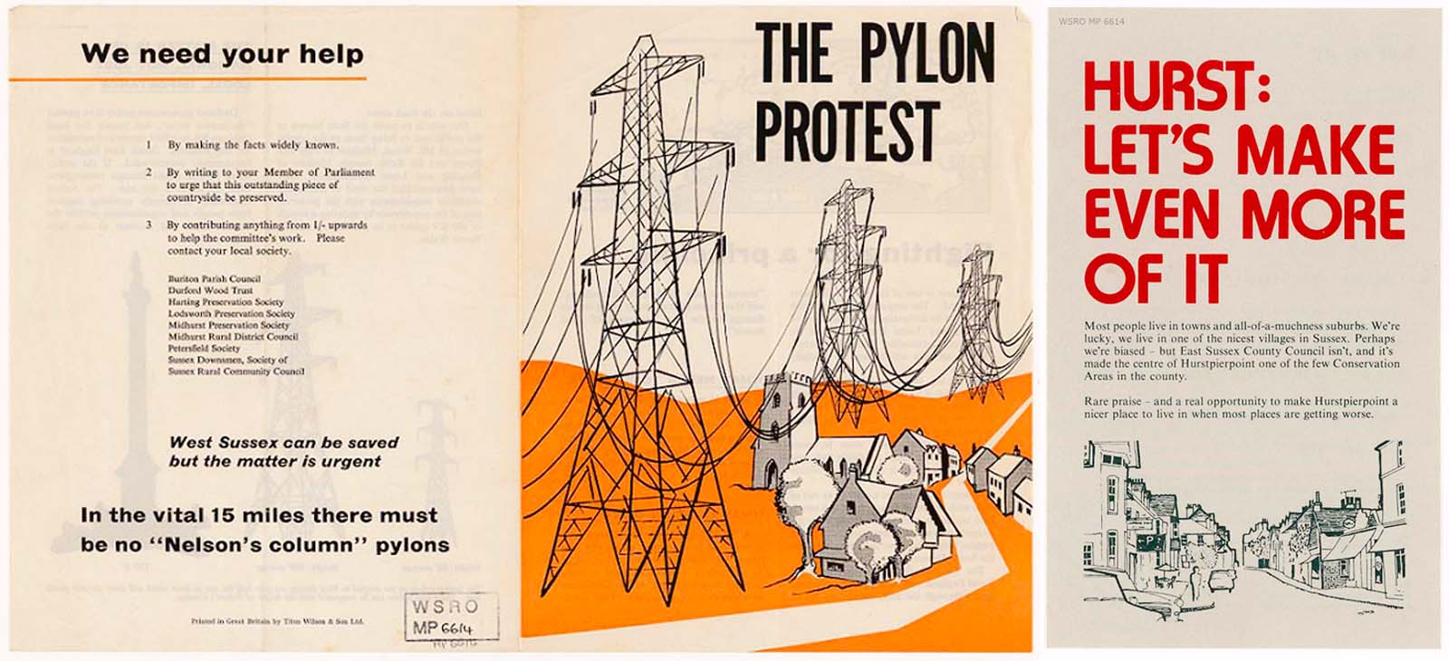 illustrations from campaigning leaflets objecting to the construction of pylons in the countryside with imagery sowing pylons towering above country villages