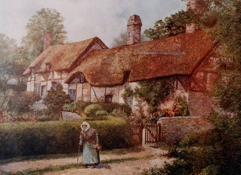 watercolour postcard showing a country cottage