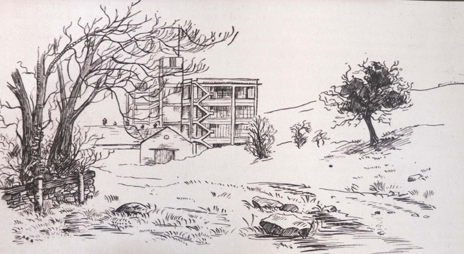drawing of a factory building in a landscape