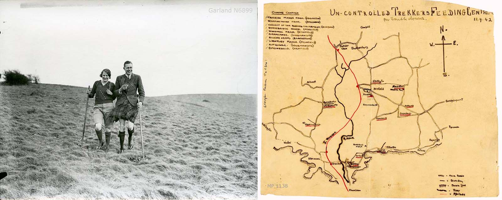 sie by side image of a couple trekking across a hill next to a hand drawn map