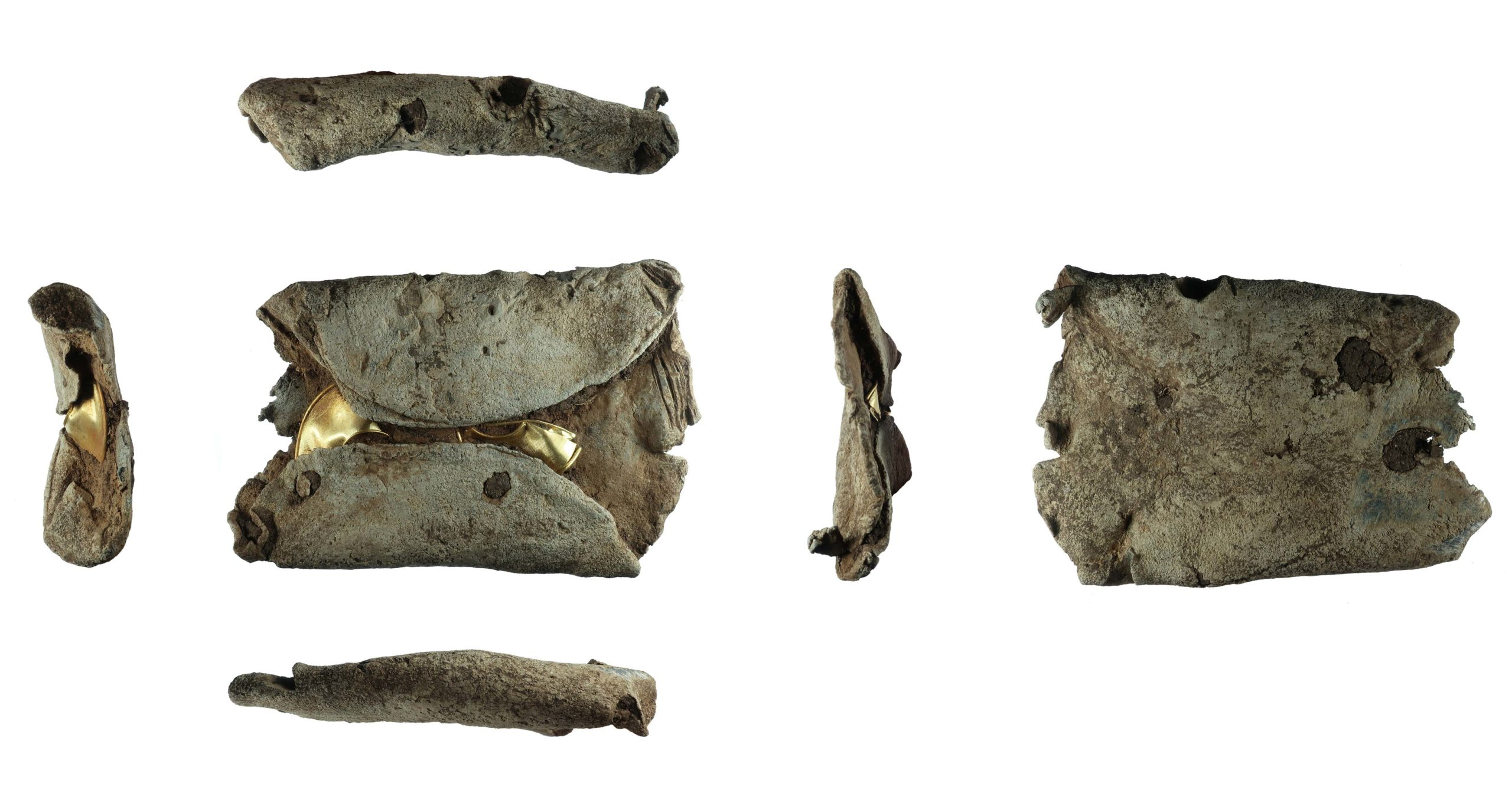 various views of gold rings covered in lead