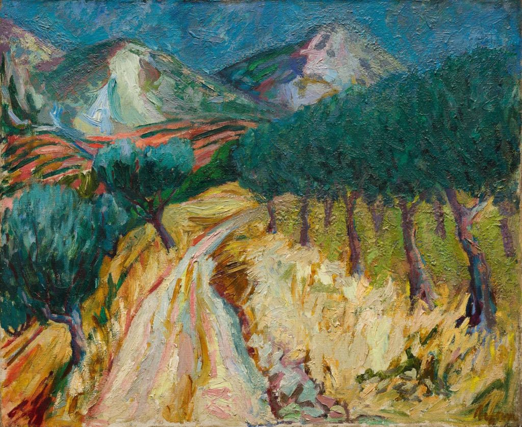 painting of a path through fields with orchards and mountains in the distance