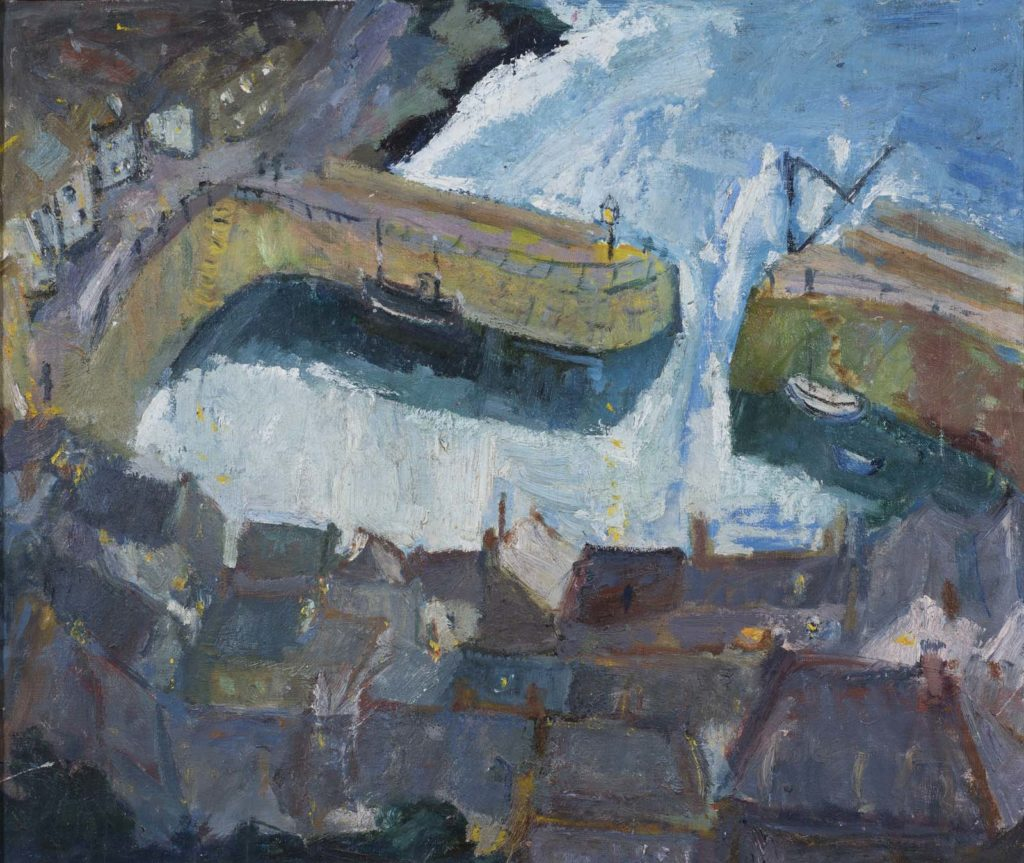 painting showing an aerial view of a town with sea harbour