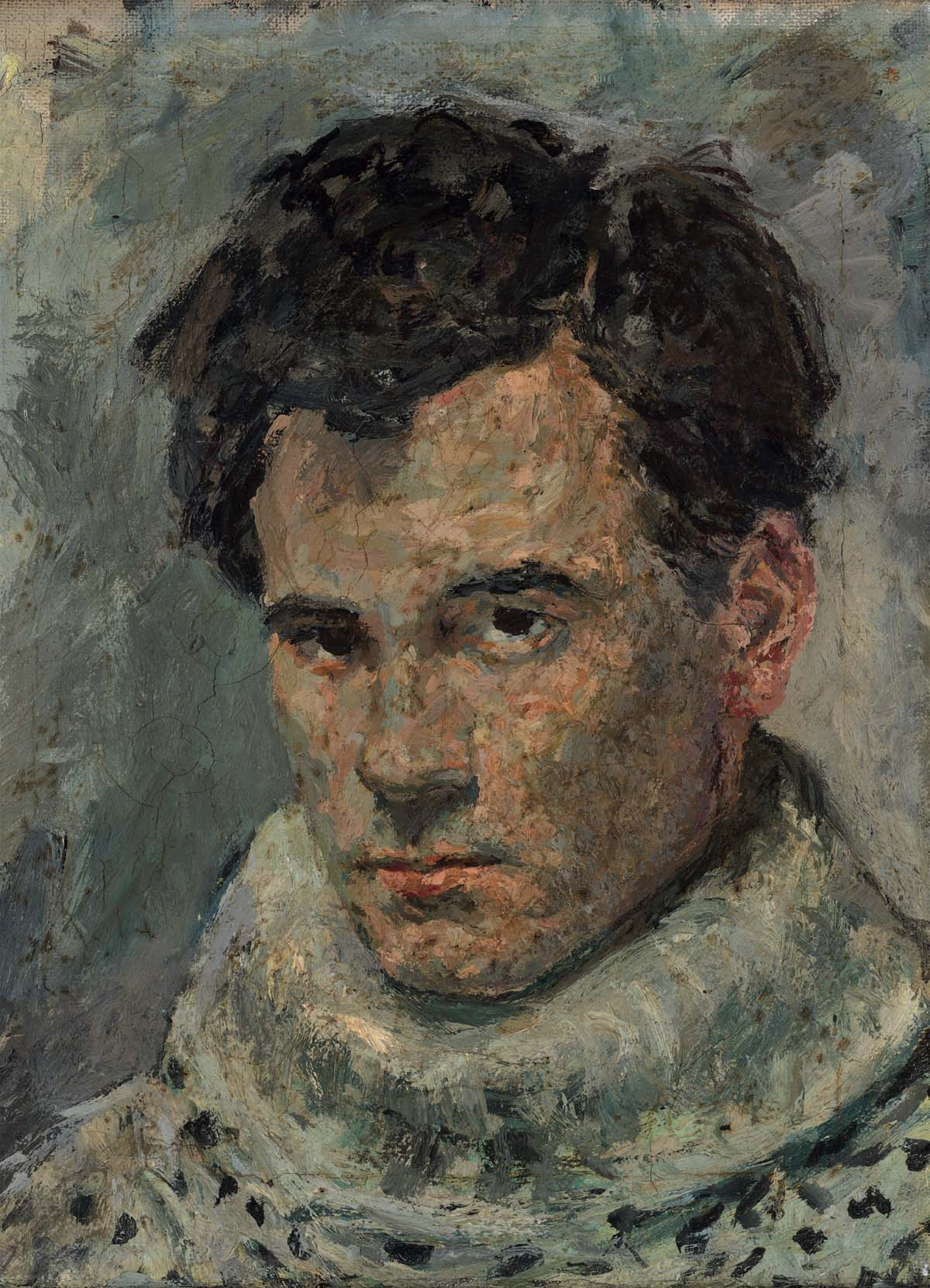 self portrait of a young man with short dark hair, brown eyes wearing a thick knitted polo neck jumper