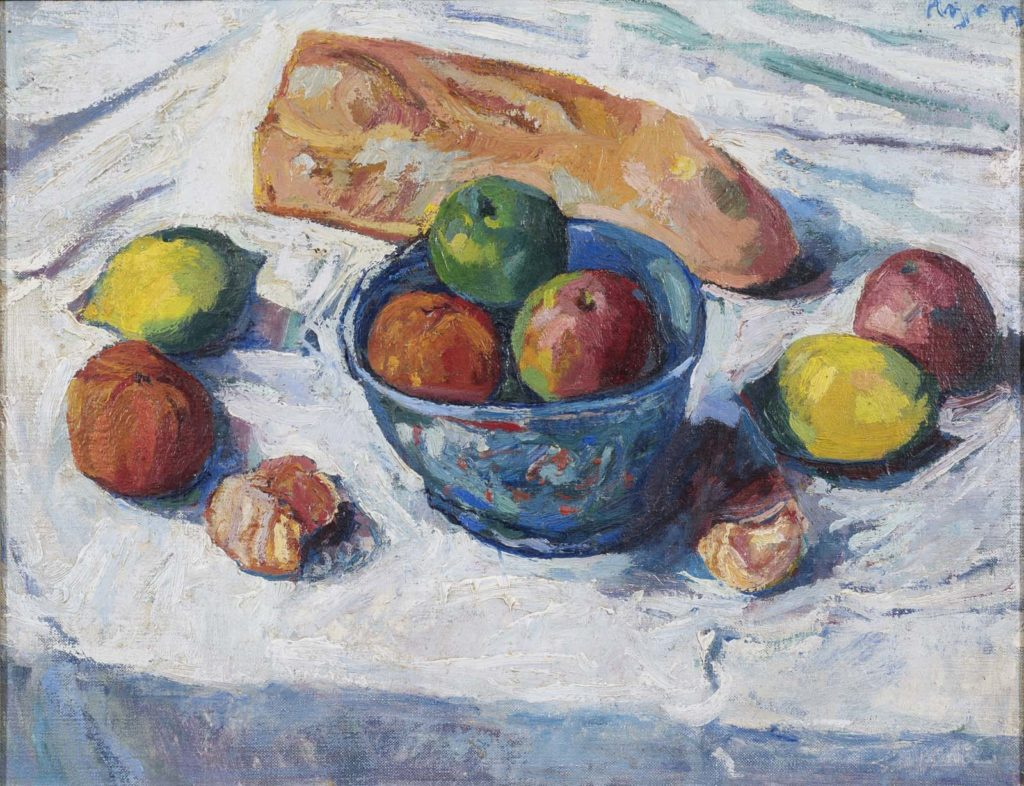 a still life painting of fruit and bread on a white tablecloth