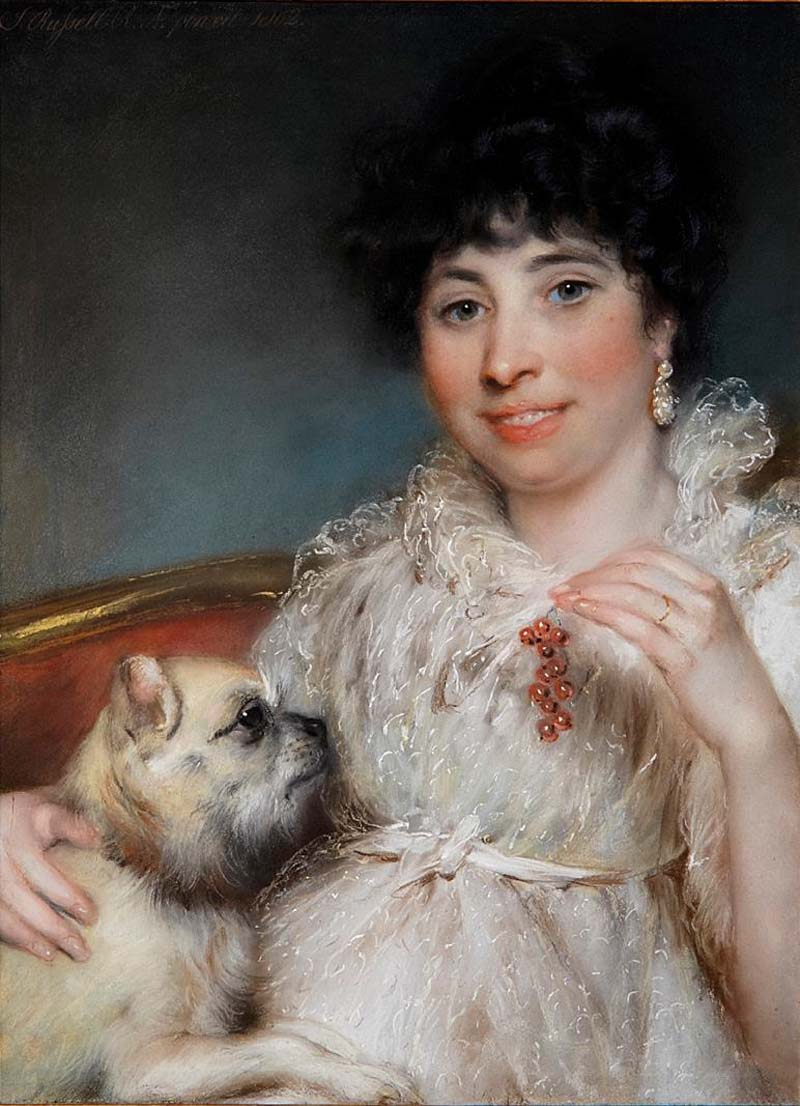 oil portriat of a woman holding a pug dog