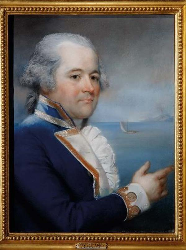 portrait of a man in side profile in naval officer's clothing