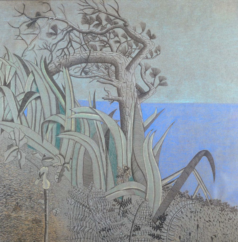 watercolour of reeds and other plants with a clear blue slab of sea in the background