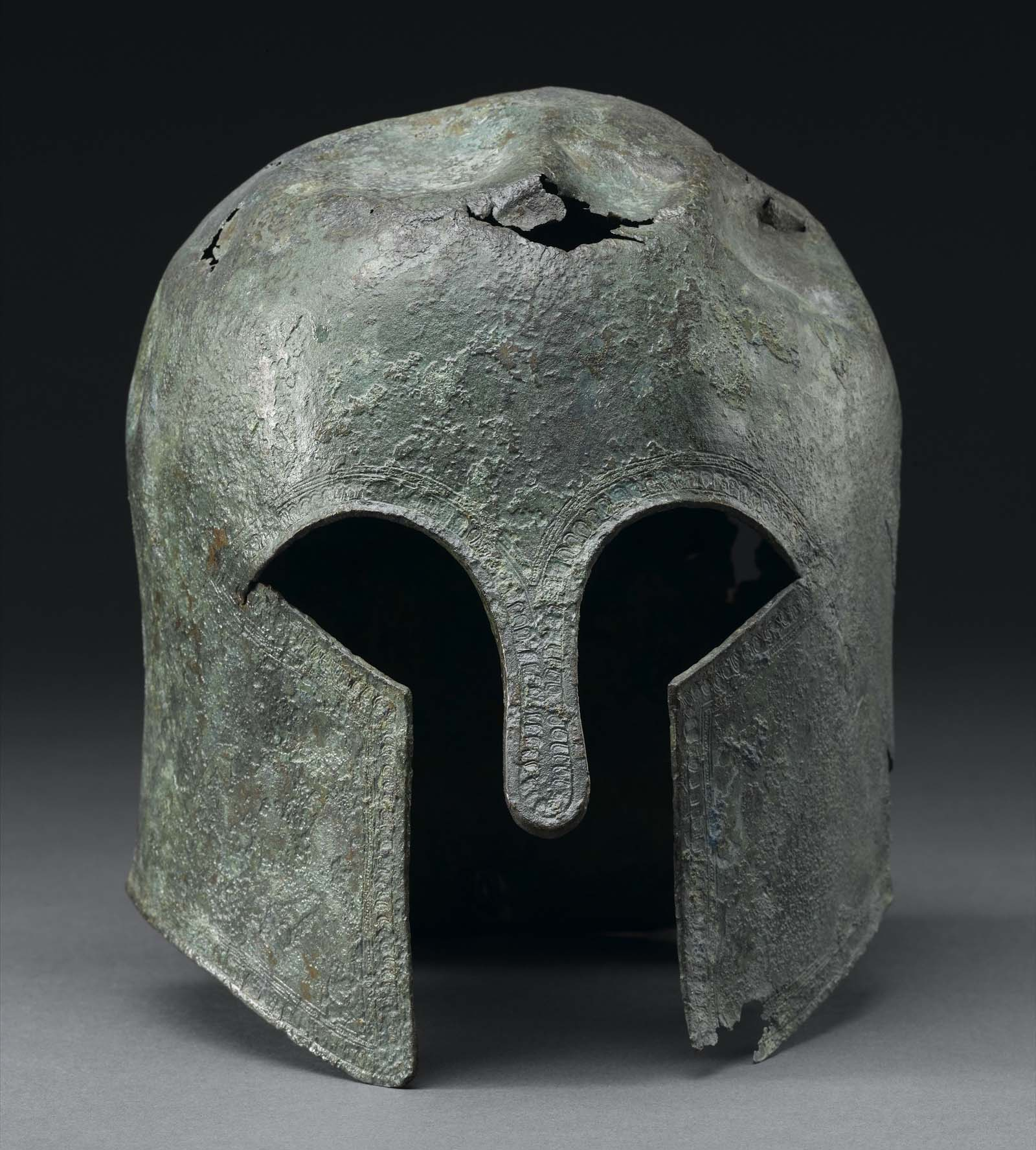 photo of a Greek style helmet with nose and cheek guards