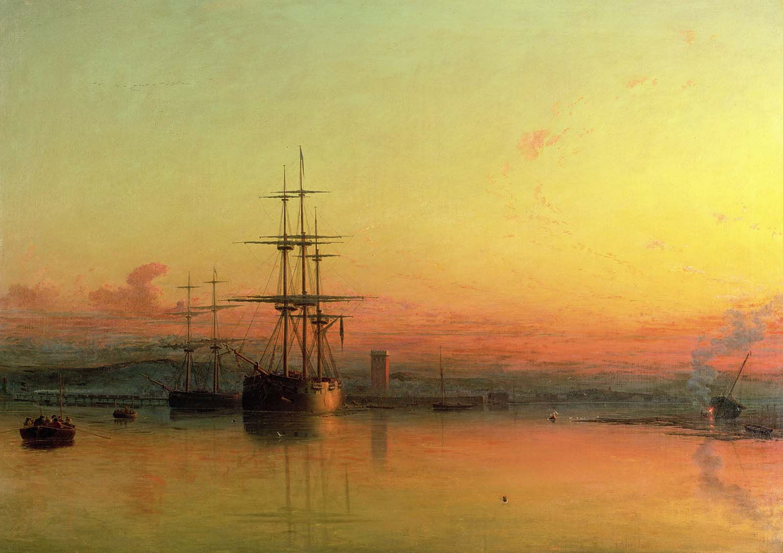 oil painitng of a ship in an estuary with a yellow and red sunset