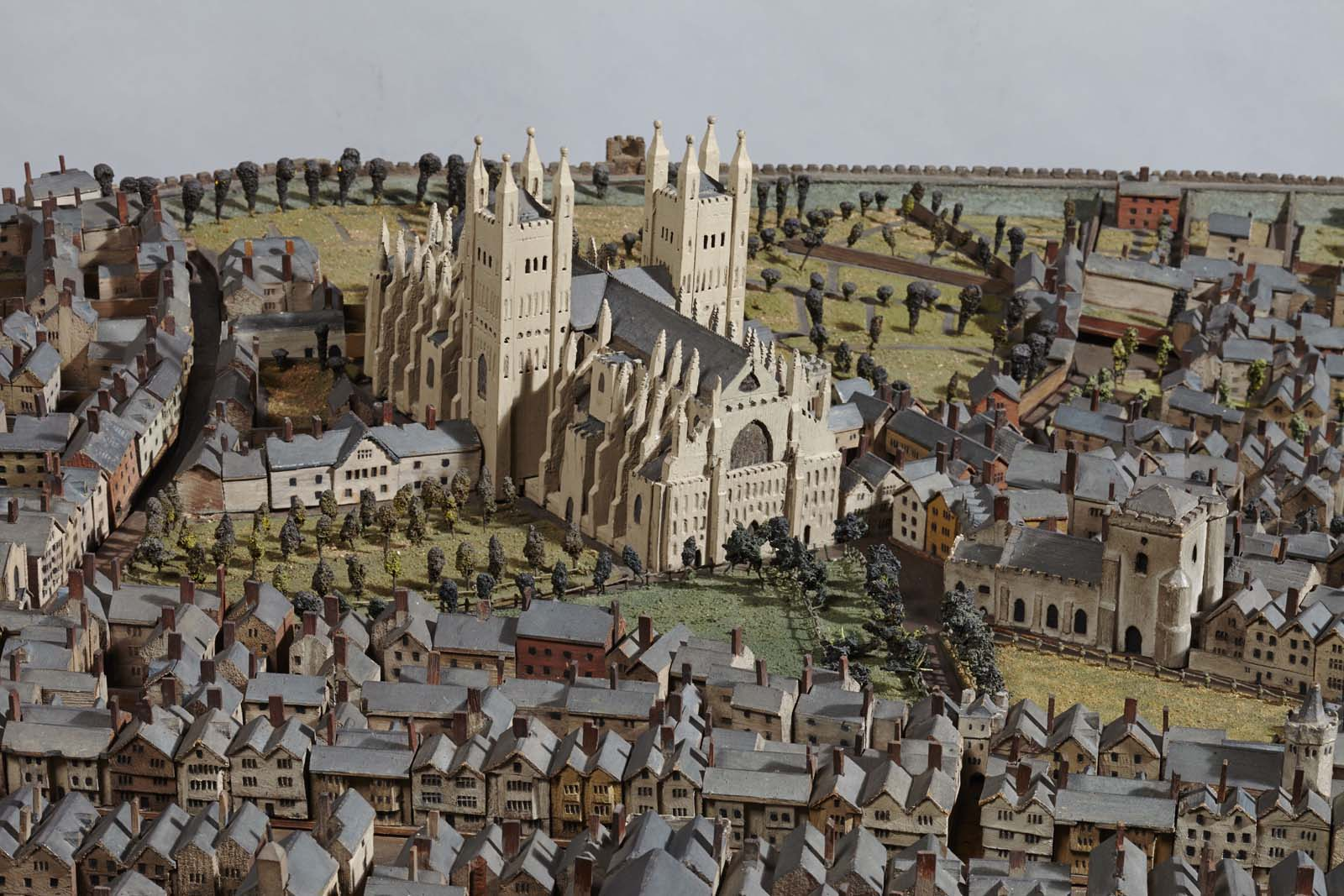 photo of a scale model of a town with central cathedral and city walls enclosing a medieval street system