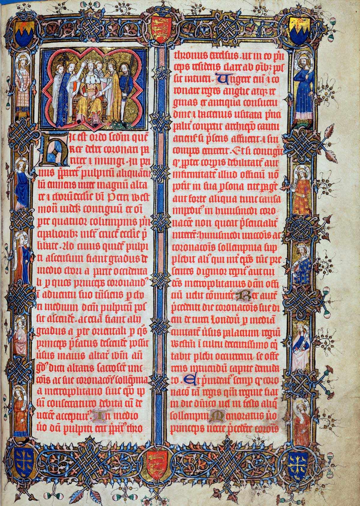 a full page of illuminated writing in red ink Latin