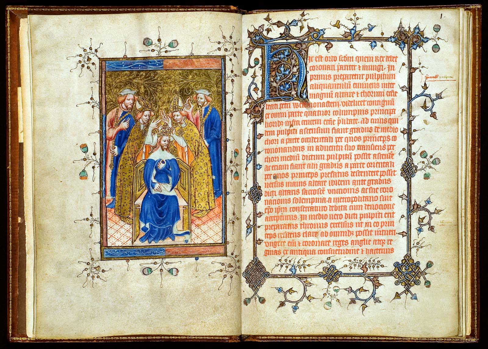 open illuminated manuscript page with illustration and text