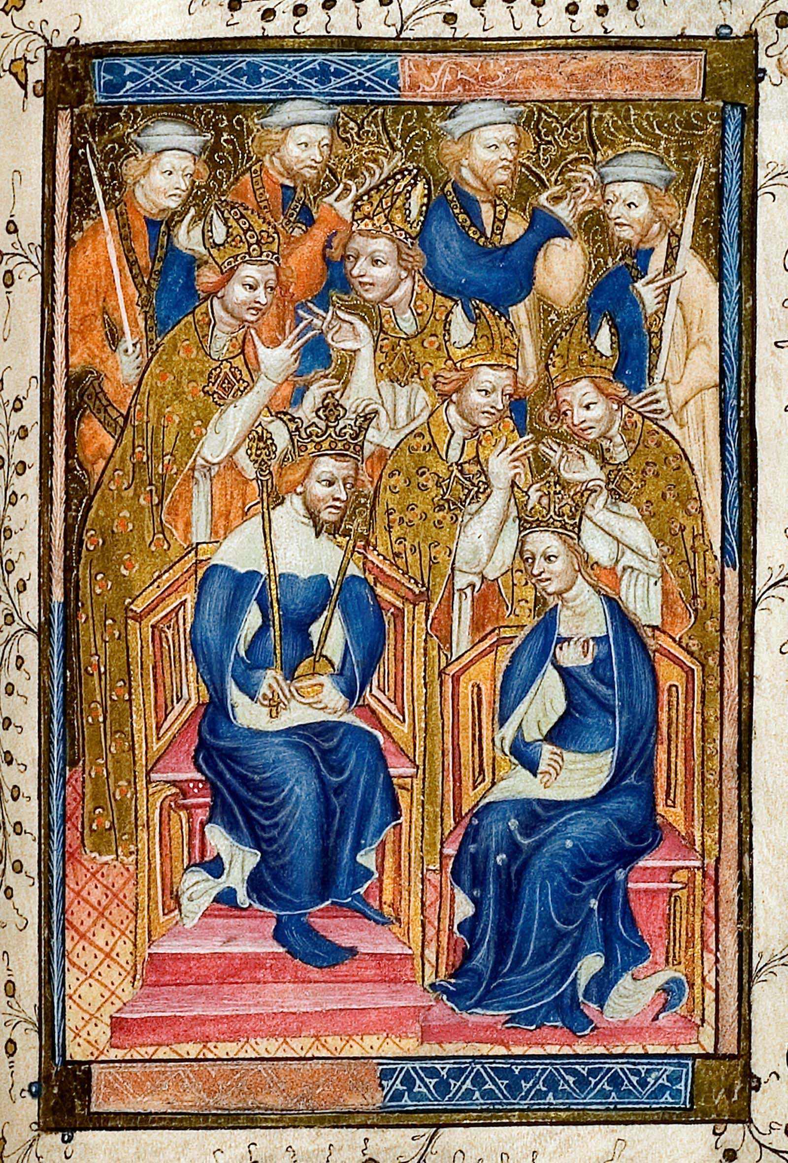 image of a king and queen crowned together with bishops crowding in the background