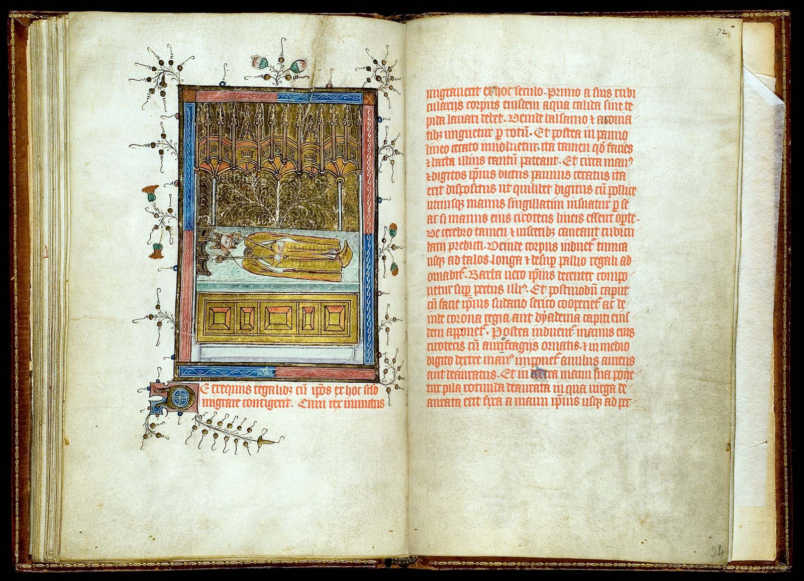 illuminated book with text and illustration of a king in a coffin