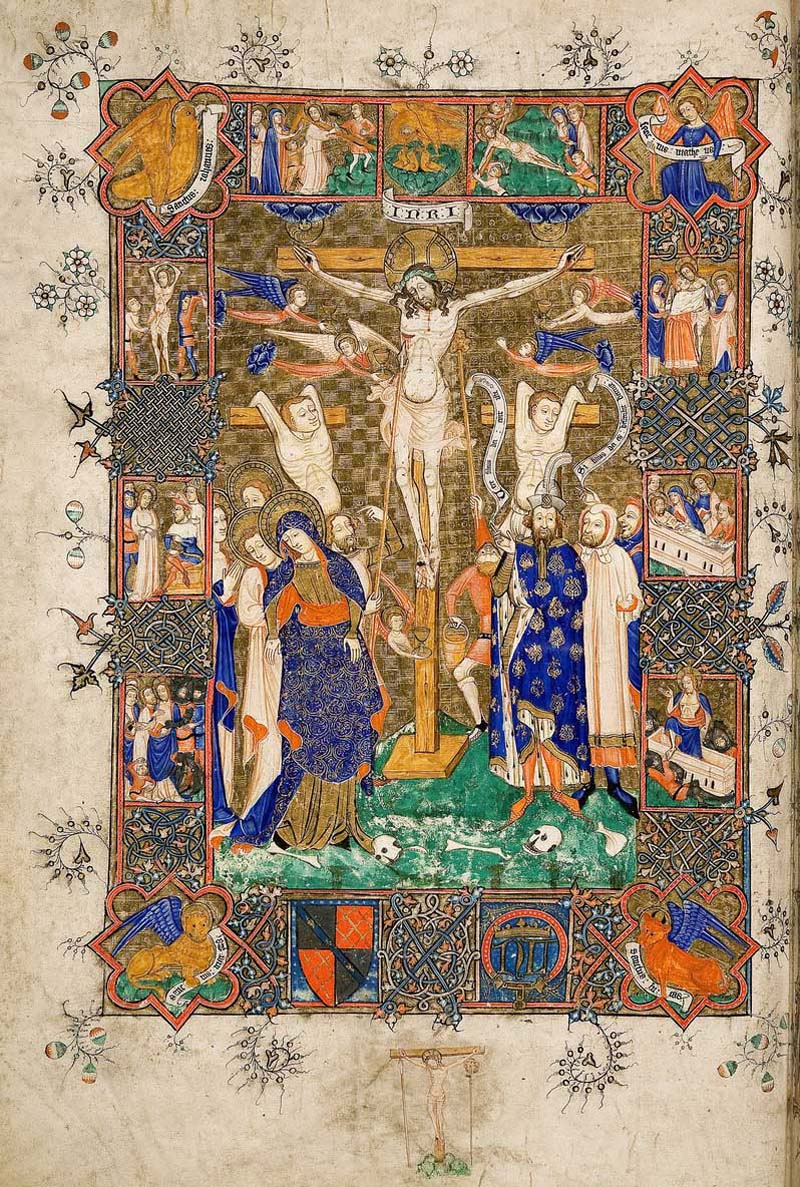 lluminated illustration showing the Crucifixion