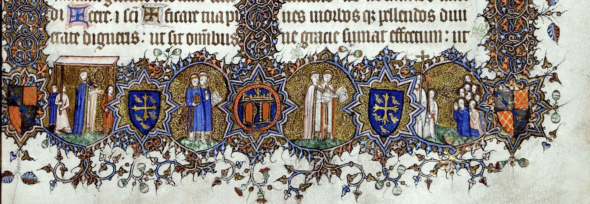 an illuminated border from an illuminated manuscript with figures, heraldic symbols and golden wreathwork
