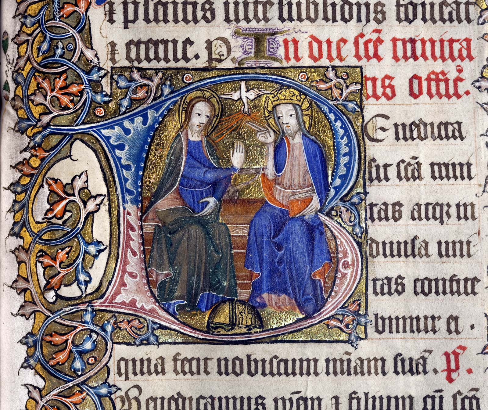 detail from an illuminated manuscript showing two figures within a scrollwork background