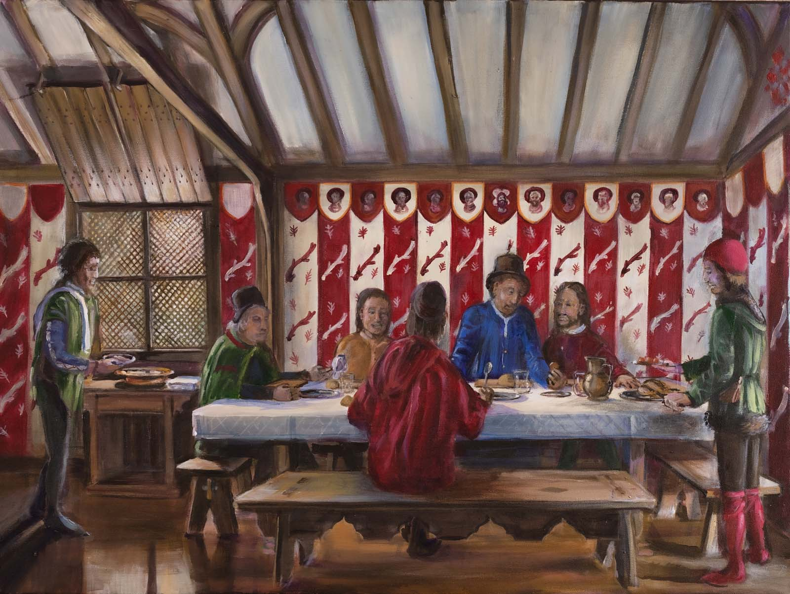 a painting of a group of Tudor or Elizabethan men feasting at a table infront of striped decorated wall
