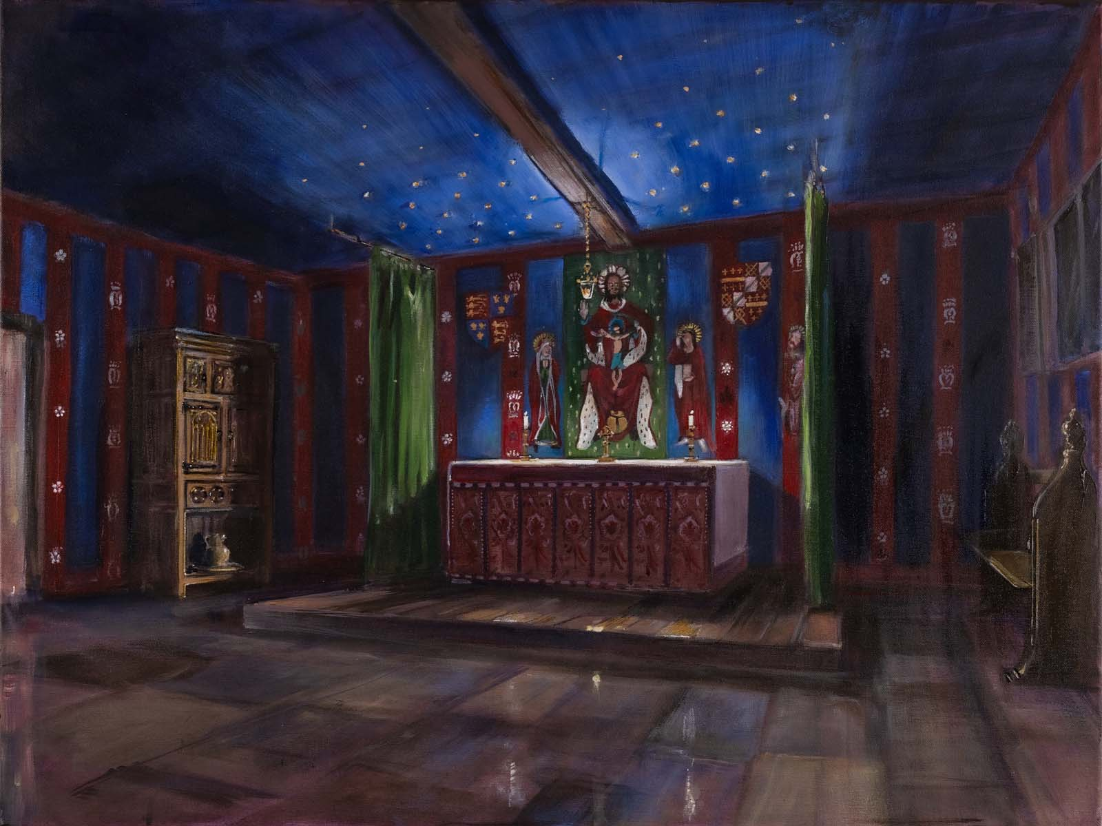painitng of a chapel with tale altar blue ceiling and relgious scene decoration at the end