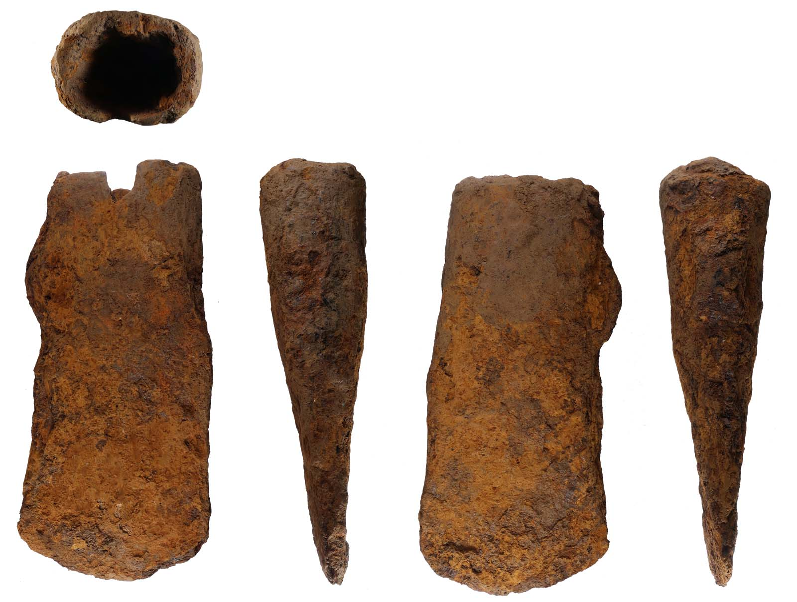 several views of a rusted metal axe head
