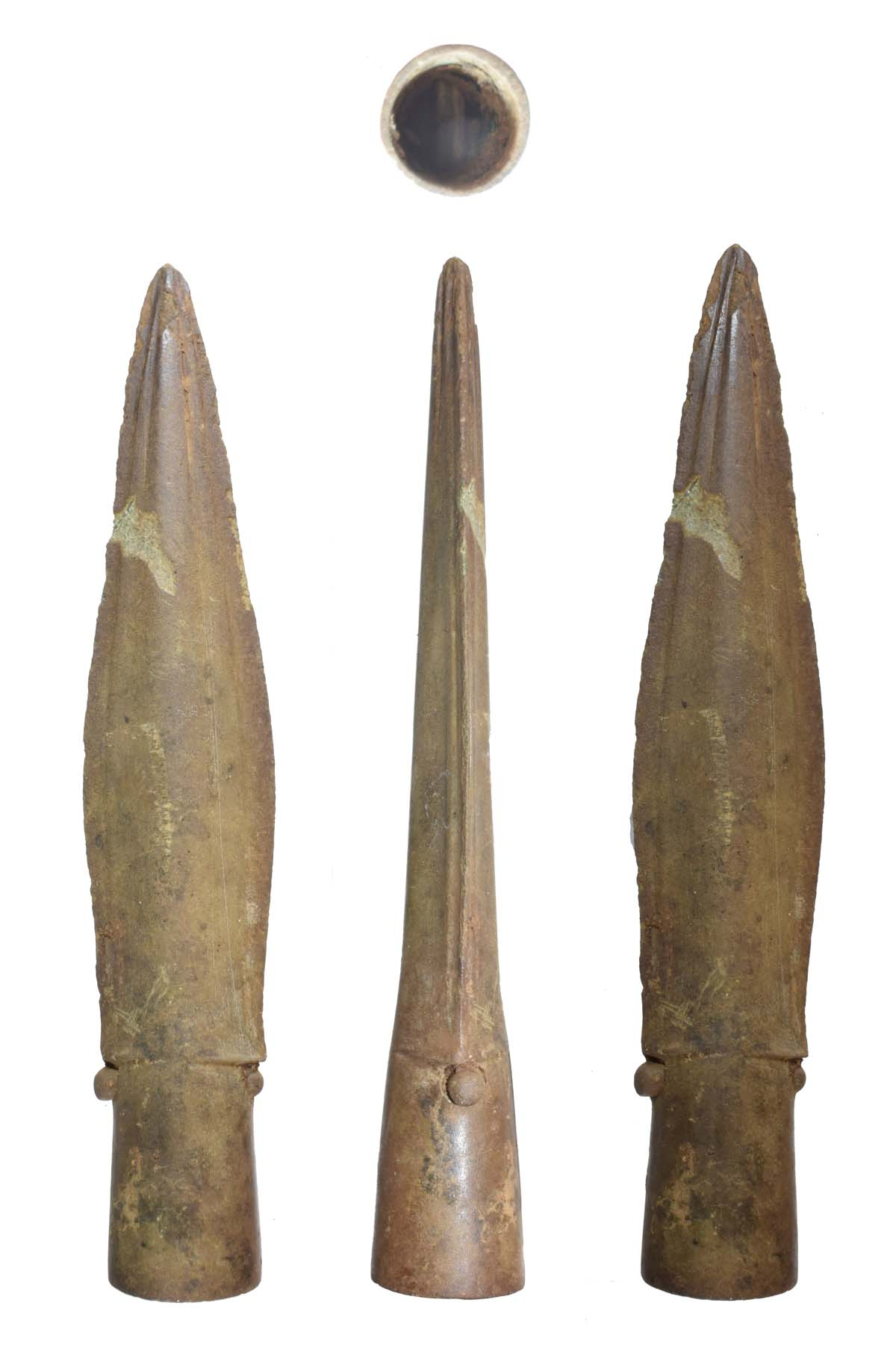 views of a copper spear head