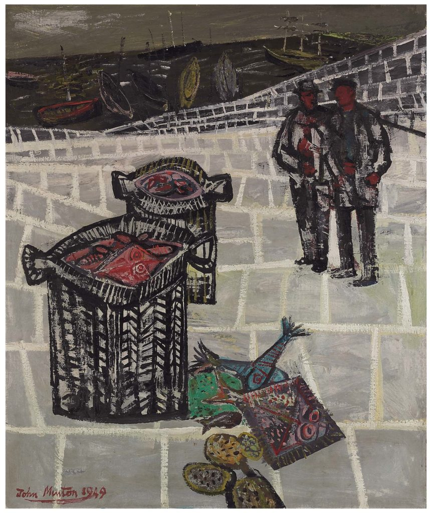 painting of two figures with fishing baskets on a quayside