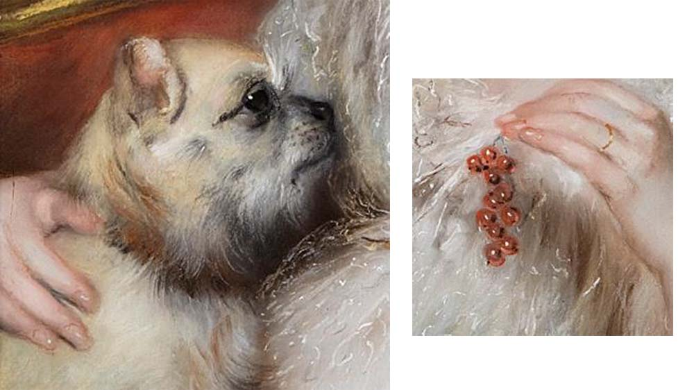 details from a painting showing a dog and a hand holding berries
