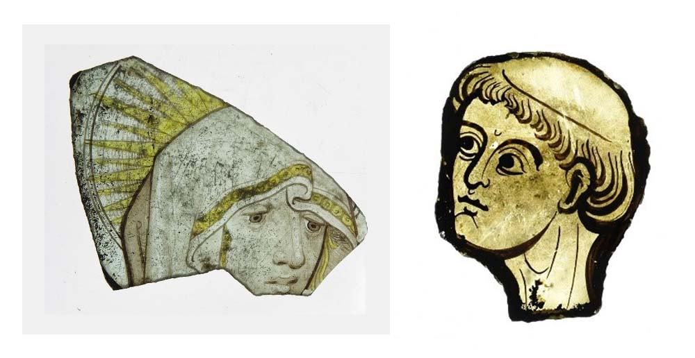 photo of two glass fragments showing medieval faces