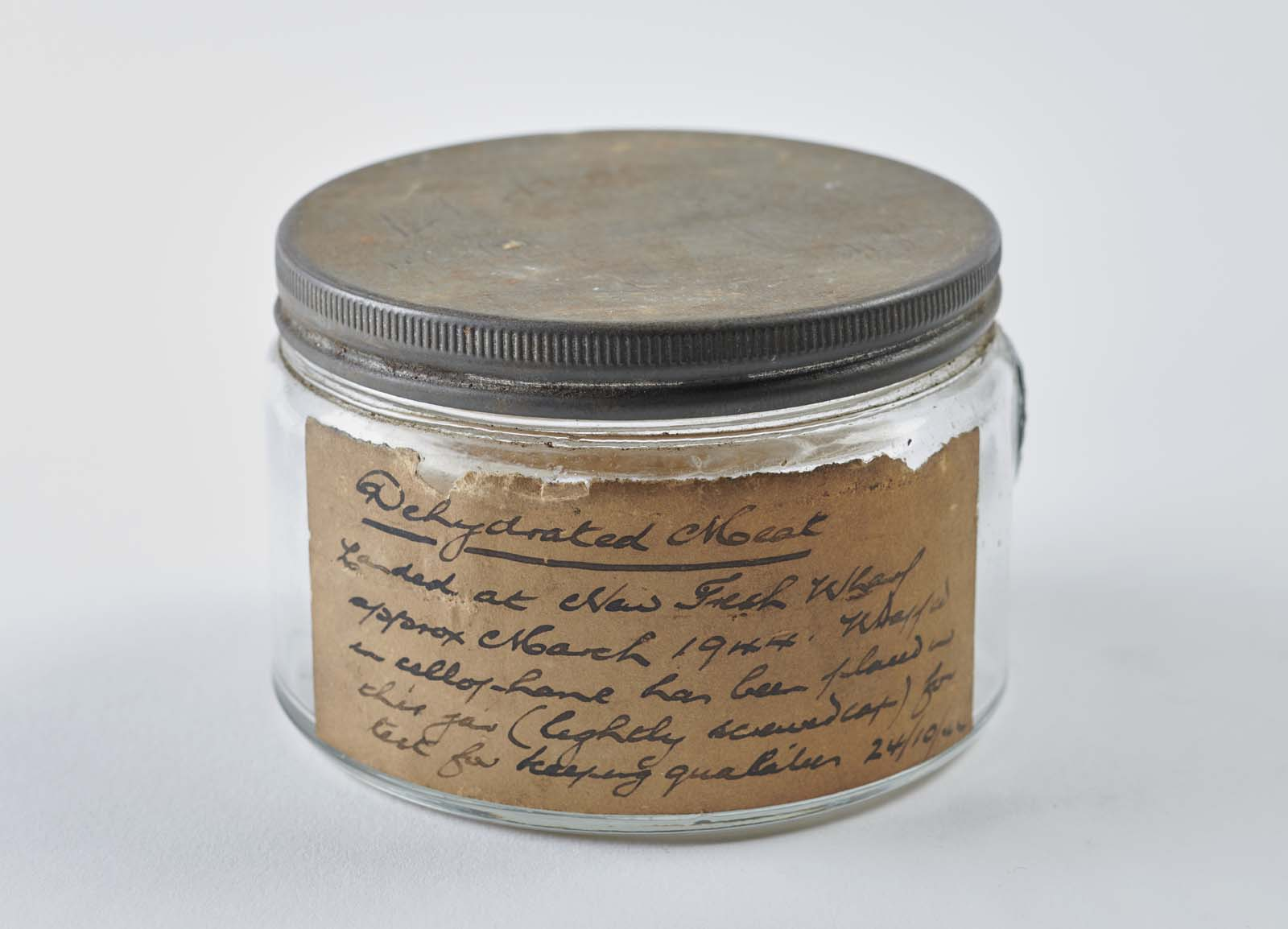 photo of a jar with a label saying dehydrated meat