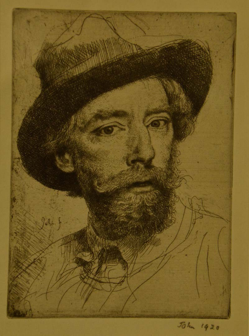 a sketch of a man with beard and fedora hat
