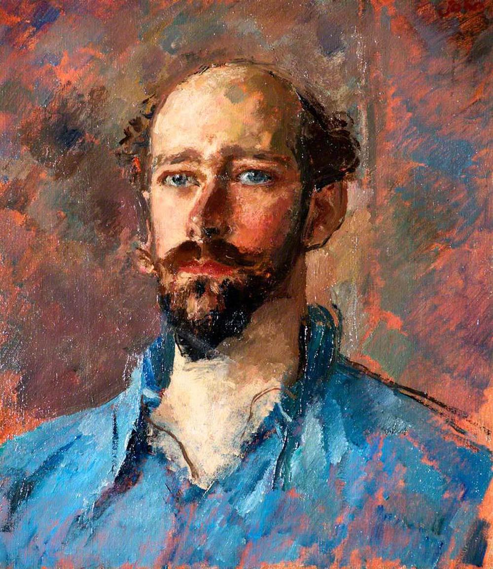oil portrait of a bald bearded man