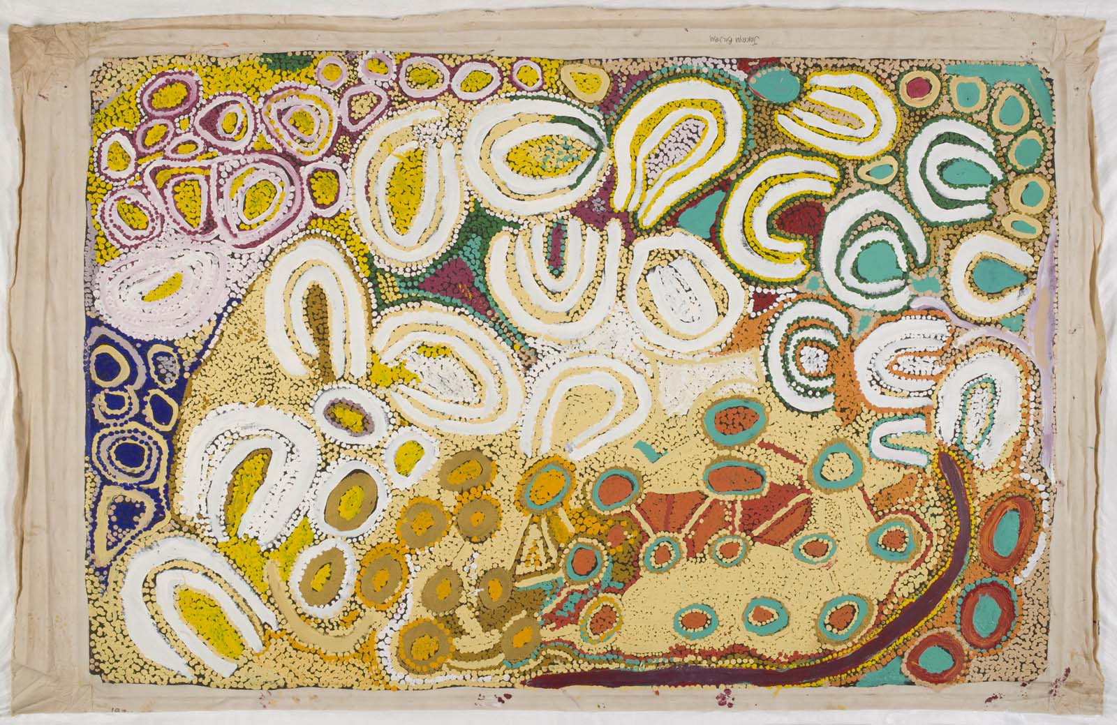 abstract panting with swirls and repeating circular patterns in a yellow palette