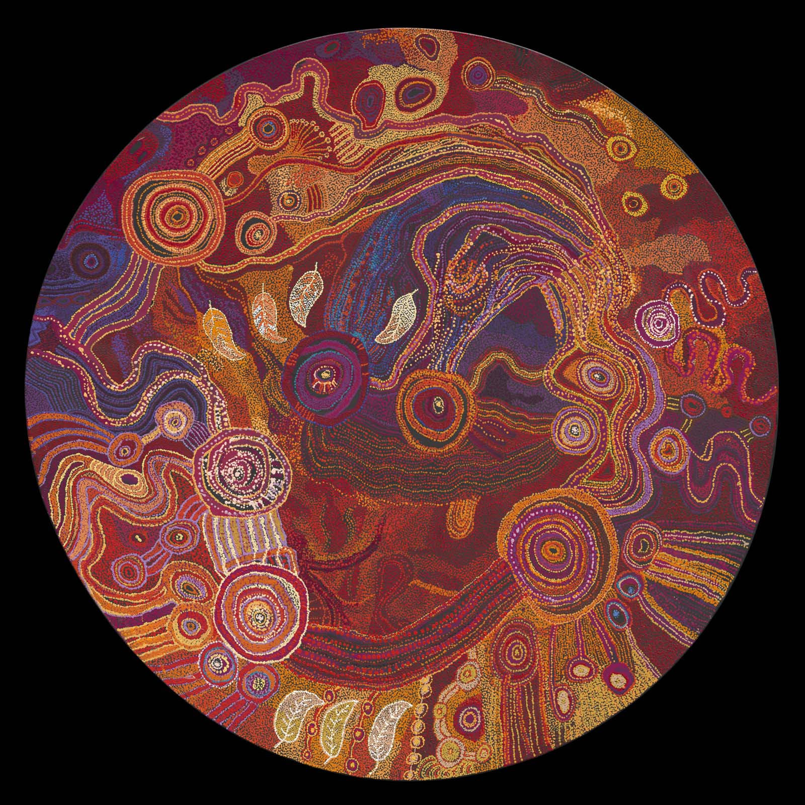 circular abastract painitng of oranges and reds in swirling repeating patterns, circles and lines