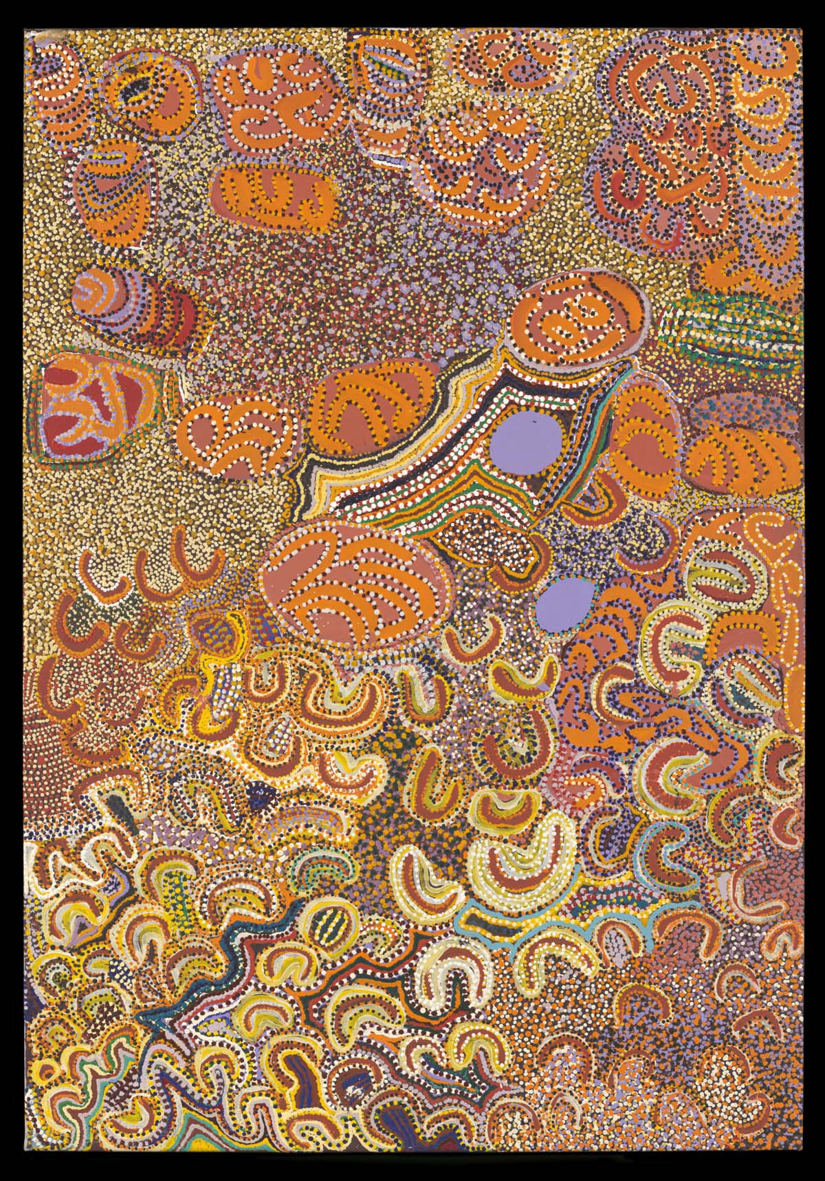 abstract painting with swirls and repeating circular patterns in an orange palette